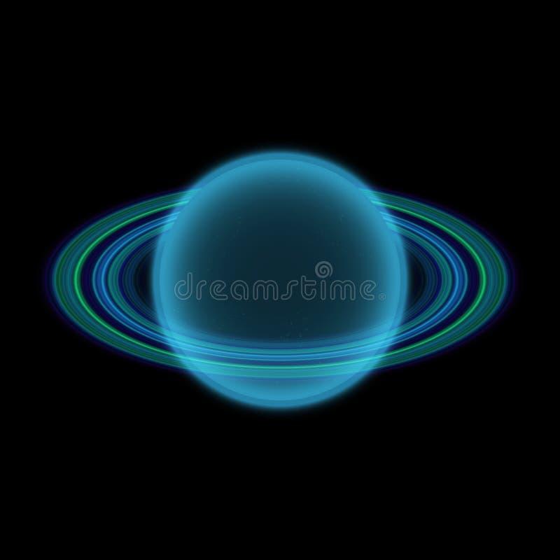 Planeta Shinning no uniferse distante Planeta abstrato com anel colorido em algum lugar ilustração royalty free