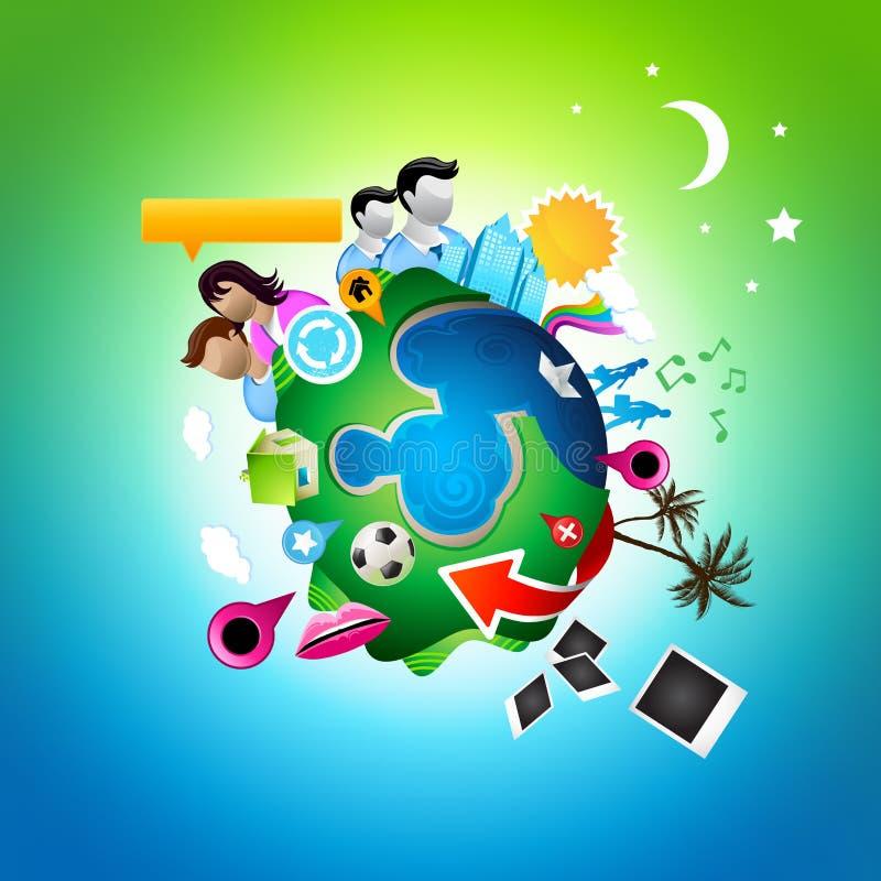 Planeta social ocupado ilustração royalty free