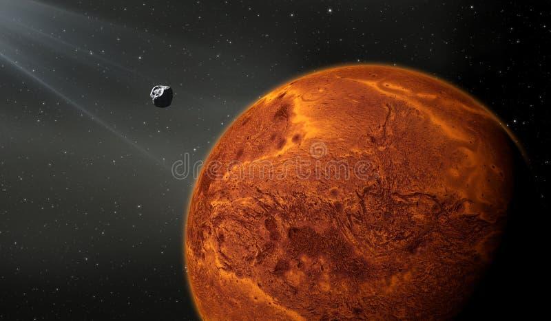 Planeta terrestre con la luna, como un planeta de Marte ilustración del vector