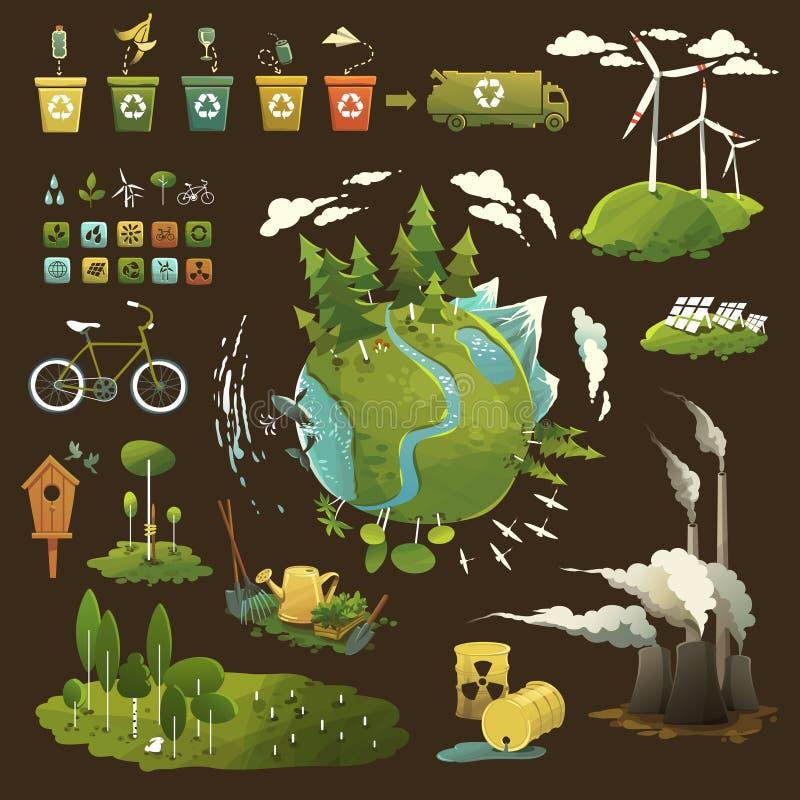 Planeta verde ilustración del vector
