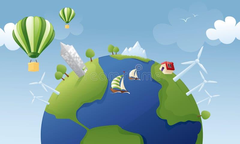 Planeta verde ilustração royalty free