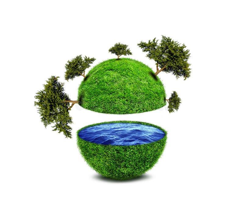 Planeta verde abstracto con los árboles y el océano ilustración del vector