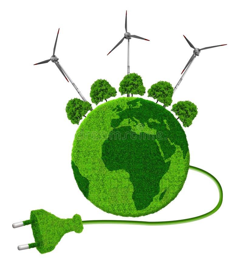 Planeta verde con los árboles y las turbinas de viento stock de ilustración