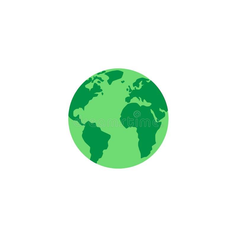 Planeta verde, globo com continentes e oceanos ilustração royalty free