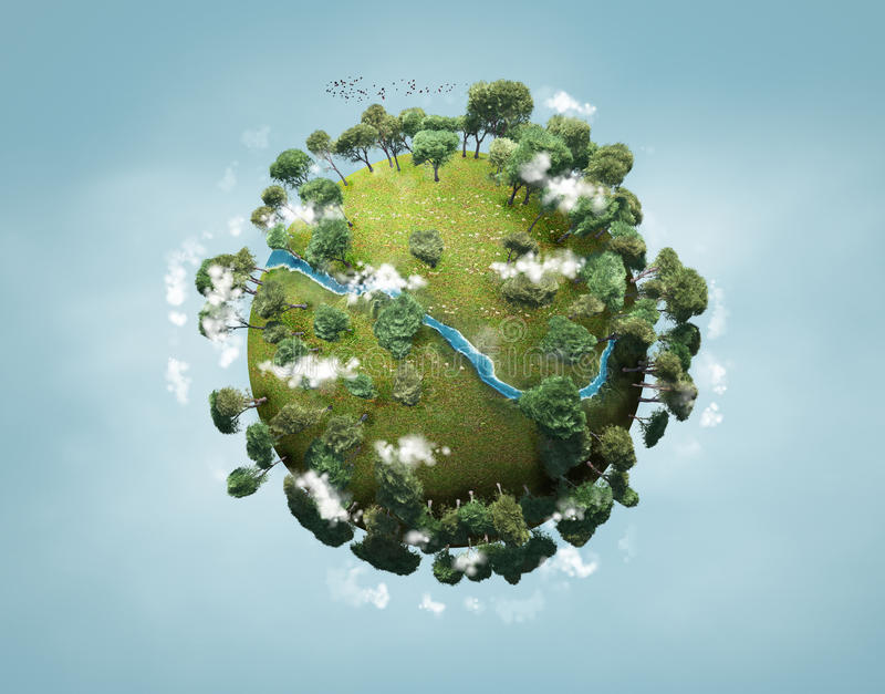 Planeta verde pequeno ilustração do vetor