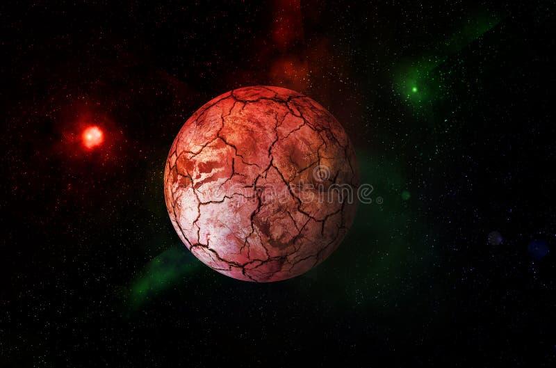 Planeta vermelho seco no universo imagem de stock royalty free