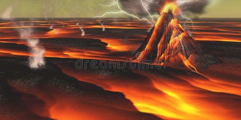 Planeta vulcânico ilustração stock