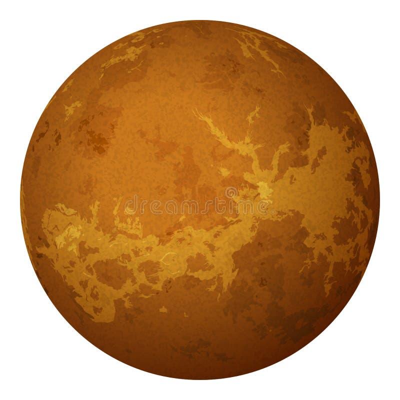 Planeta Wenus, odizolowywający na bielu ilustracja wektor