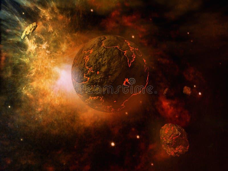Planeta y asteroide ardientes ilustración del vector