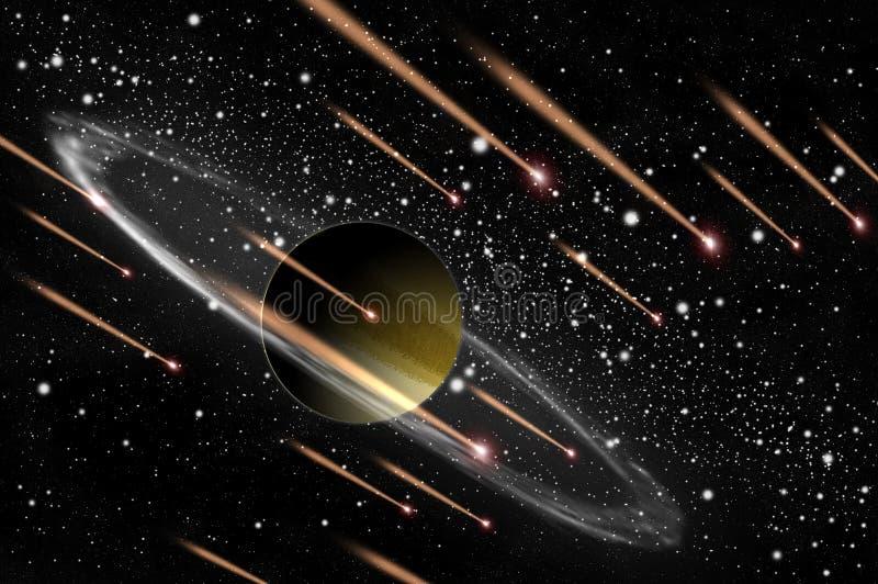 Planeta y cometa del gas ilustración del vector