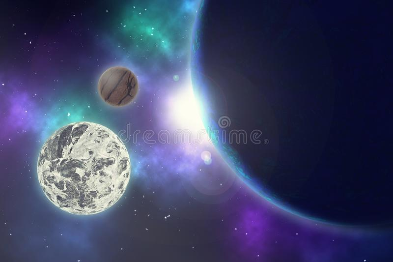 Planeta y estrellas en una galaxia del espacio libre ilustración del vector