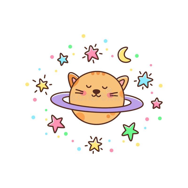 Planeta y estrellas lindos, luna del gato en un fondo blanco ilustración del vector