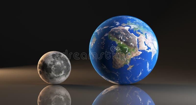Planeta y luna realistas de la tierra ilustración del vector
