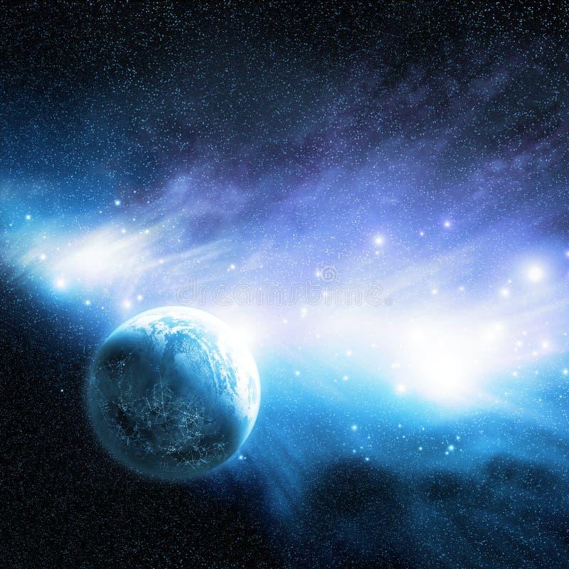 Planeta y nebulosa stock de ilustración