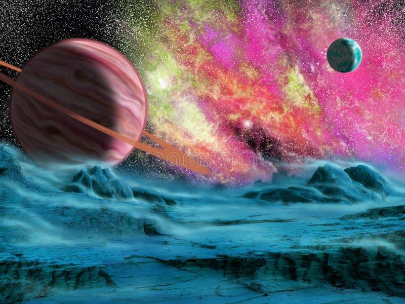 Planeta y nebulosa grandes ilustración del vector