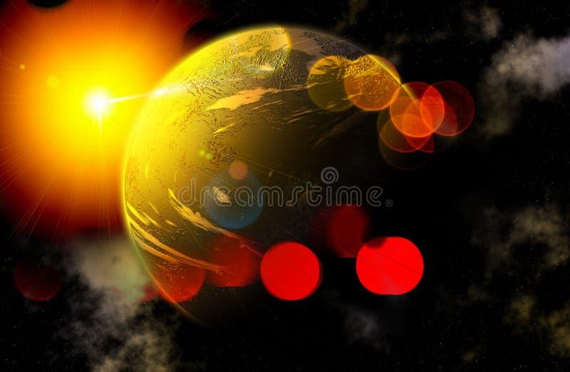 Planeta y Sun en desfile sunbeams ilustración del vector