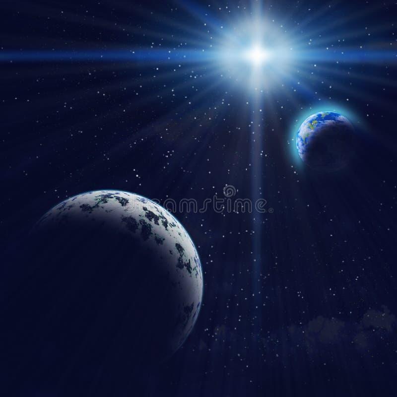 Planeta y tierra azules de Gigant en espacio libre illustration