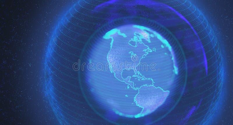 Planeta Ziemski Holograficzny wizerunek ilustracja wektor
