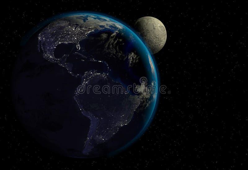 Planetaarde met zonsopgang in de ruimte, stadslichten en maan royalty-vrije stock afbeelding