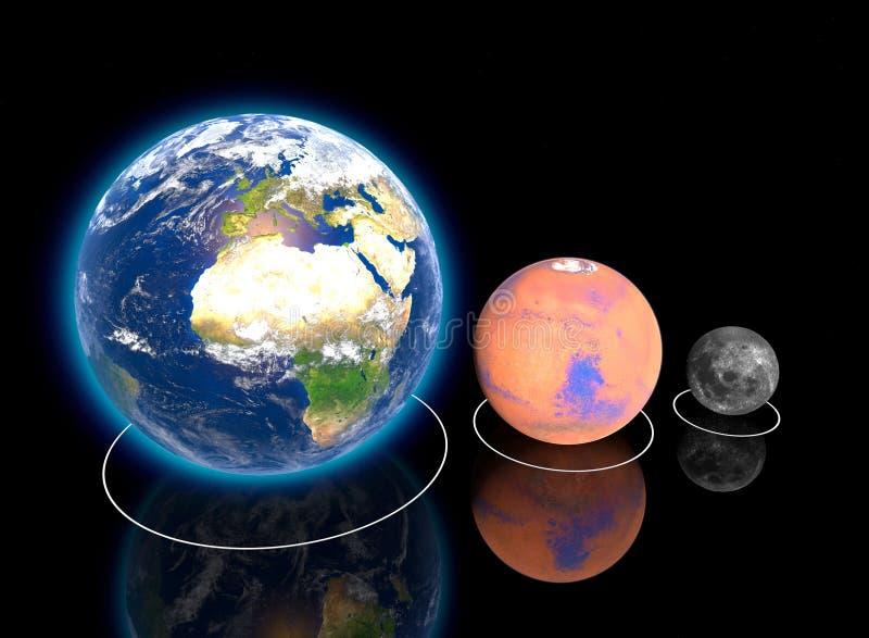 Planetarische, Aardemaan en van Mars Aandelen, verhouding, diameter, omvang en afmetingen, banen vector illustratie
