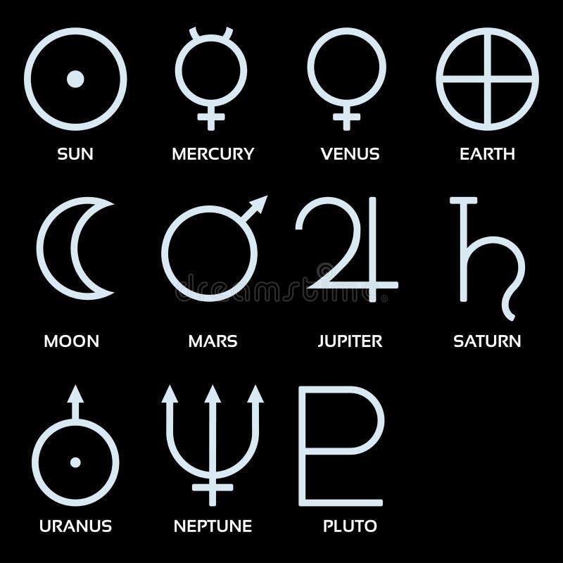 Planetarische symbolen royalty-vrije illustratie