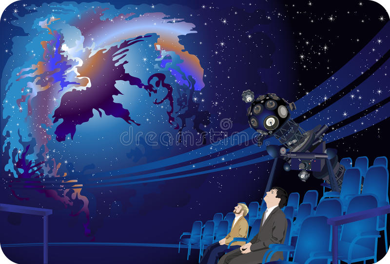 Planetarium. People gazing at the starry sky, Planetarium royalty free illustration