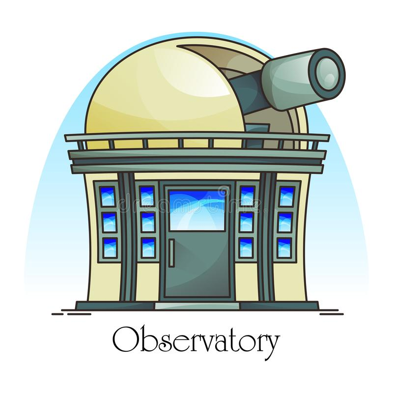Planetarium building with telescope in dome. Observatory facade exterior or outdoor view. Science and astronomy, sky and cosmos, universe panorama royalty free illustration