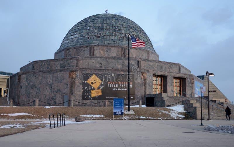 Planetarium an der Dämmerung stockbilder