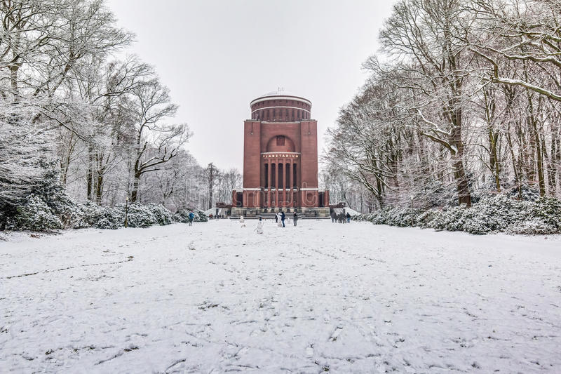 Planetarium, hamburg, winter, snow, hdr, park, stadtpark, sky, clouds, cold, frost, astronomy, building, bright, people, snowman,. HDR shot of the Planetarium in stock images