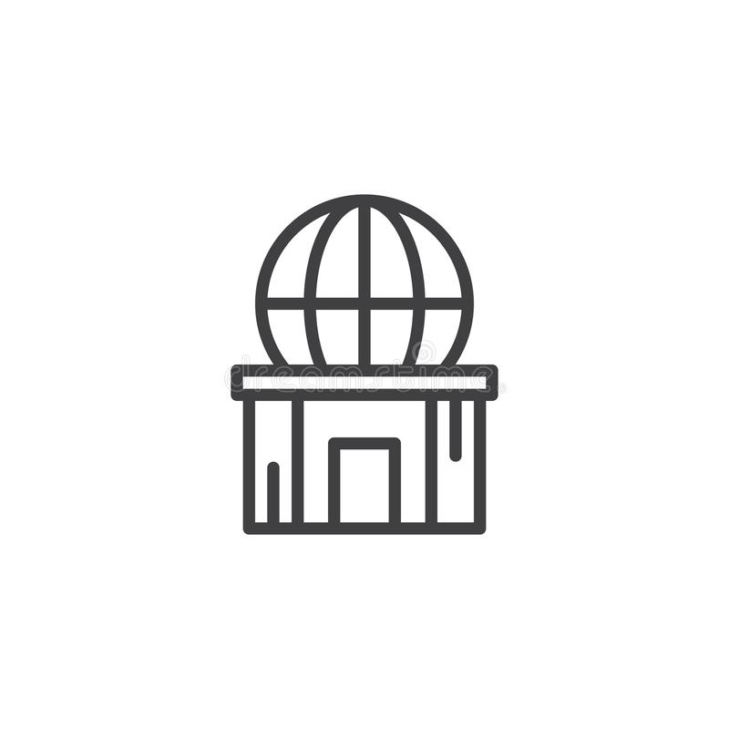 Planetarium outline icon. Linear style sign for mobile concept and web design. Observatory building simple line vector icon. Symbol, logo illustration. Pixel vector illustration