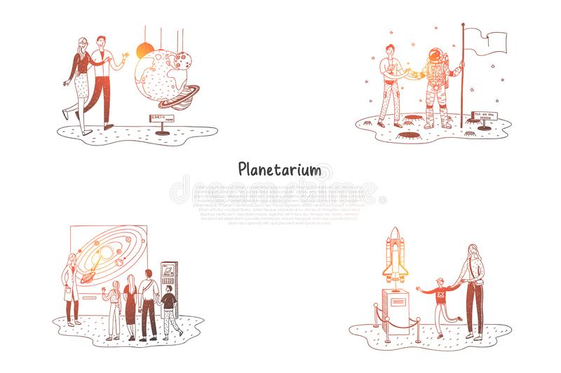 Planetarium - people in planetarium looking at exhibitions and presentations vector concept set. Hand drawn sketch isolated illustration vector illustration