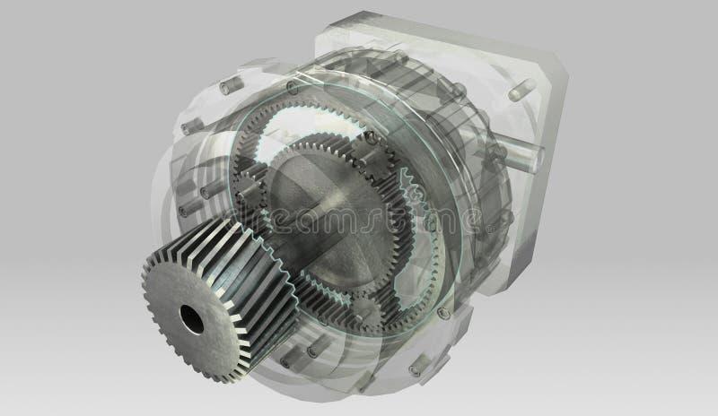 Planetarny gearbox przekazu przekrój poprzeczny i semi przejrzysty casing ilustracja wektor