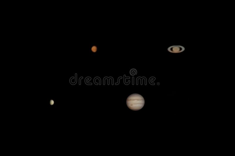Planetary Collage. Collage of the four planets Venus, Mars, Jupiter, and Saturn photographed from the Odenwald in Germany royalty free stock photography