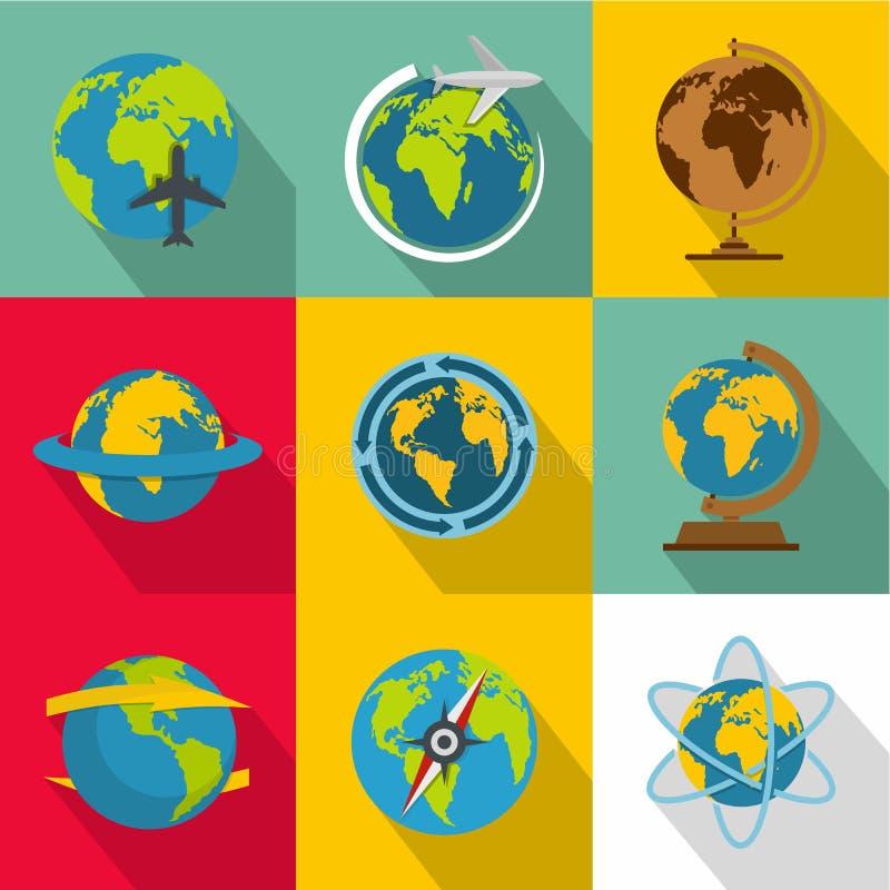 Planetary environment icons set, flat style royalty free illustration