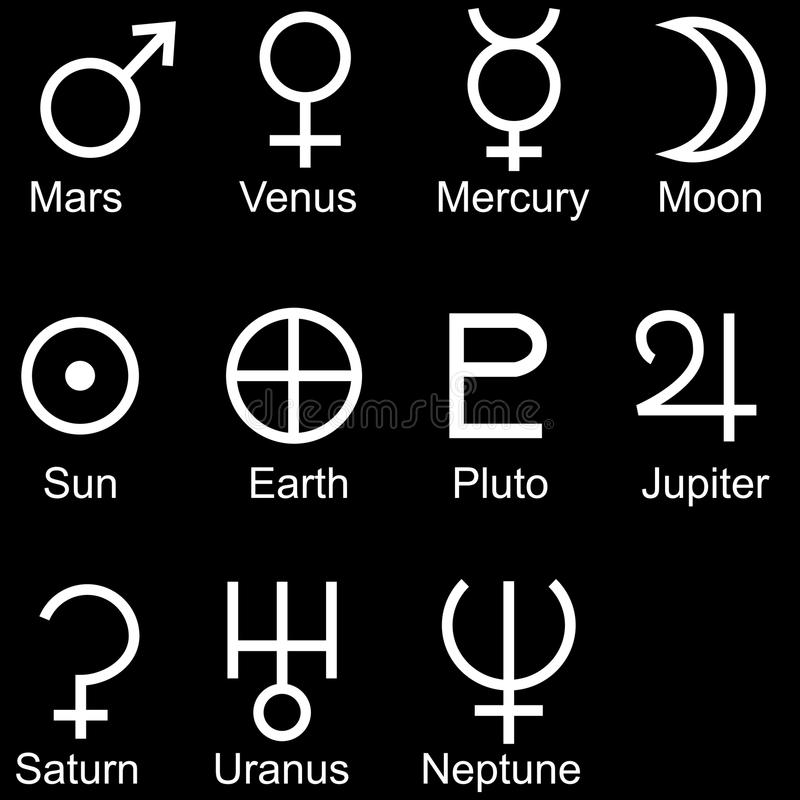 Download Planetary Sign Icon Set stock vector. Illustration of horoscope - 10676844