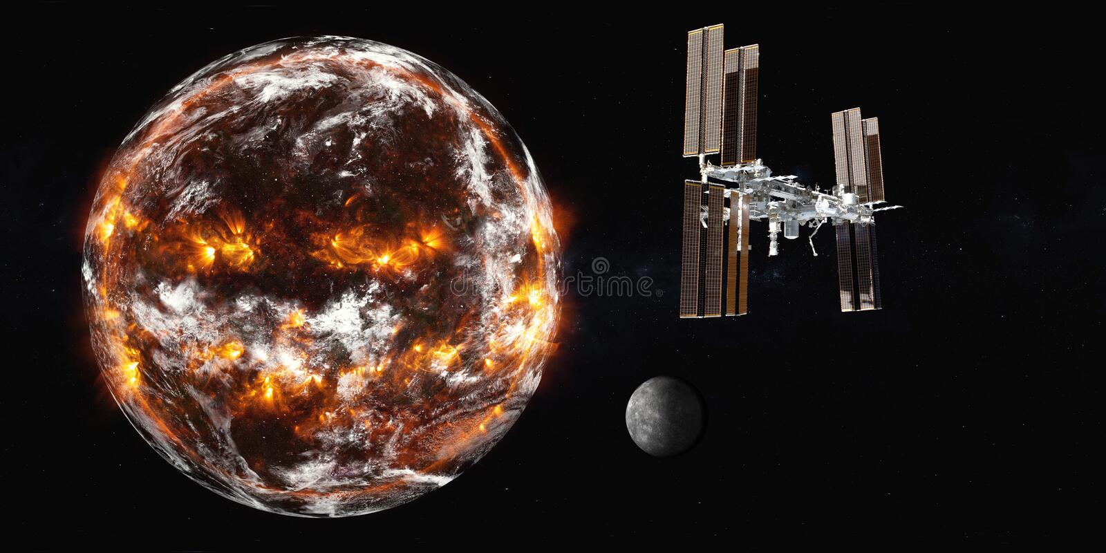 Planetary station satelite near explosion planet Earth vector illustration
