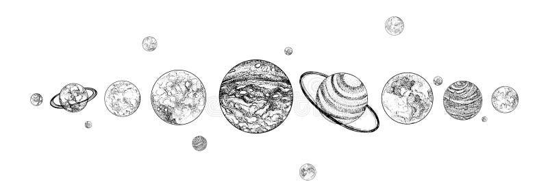 Planetas alineados en fila Sistema Solar dibujada en colores monocromáticos Gravitacional limite los cuerpos celestes en espacio  ilustración del vector