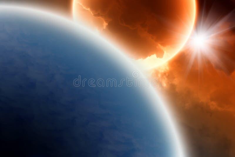 Planetas azuis e vermelhos imagem de stock