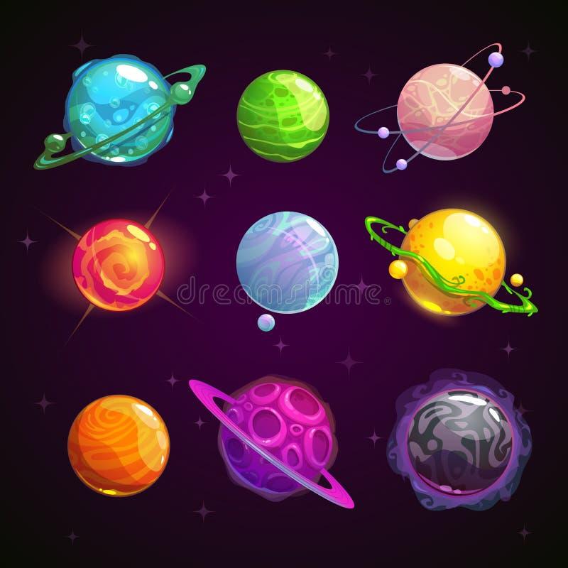 Planetas coloridos da fantasia dos desenhos animados ajustados ilustração do vetor