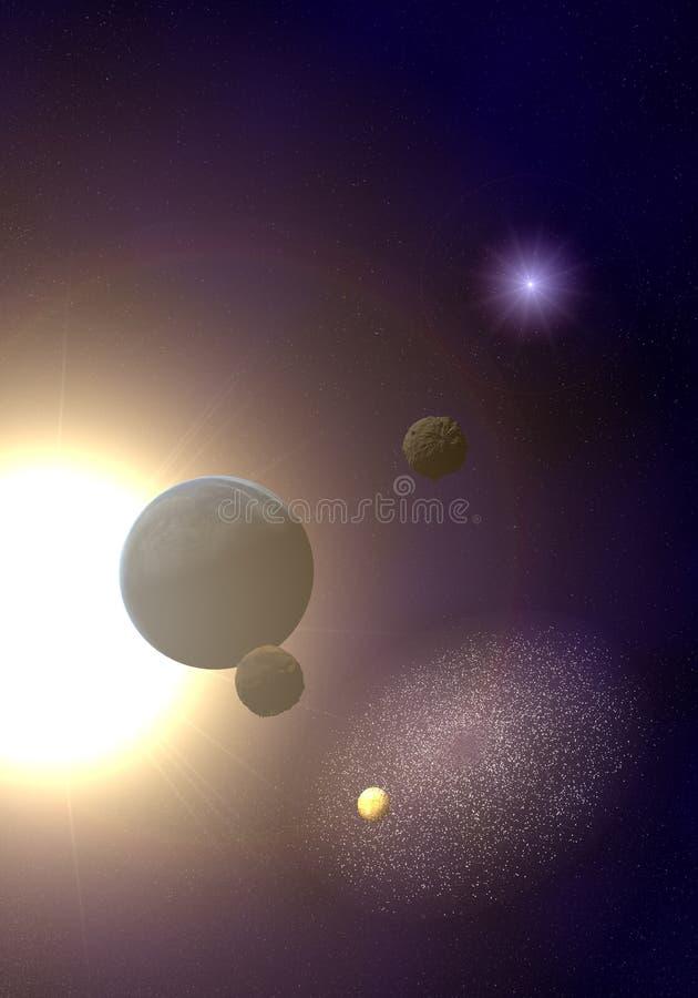 Planetas con el sol ilustración del vector