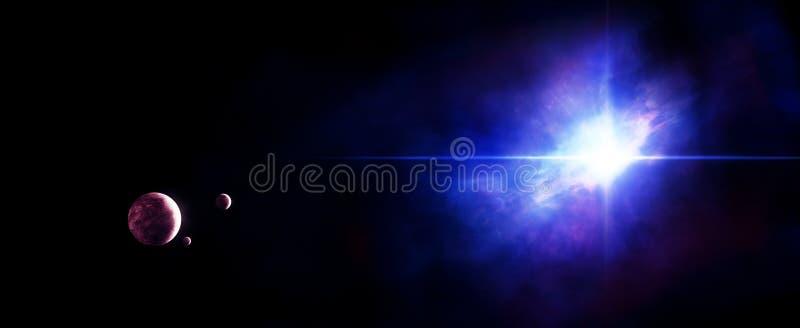 Planetas con la estrella y la nebulosa libre illustration