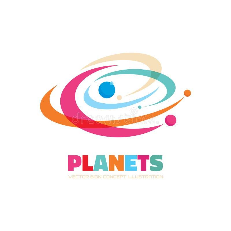 Planetas - conceito do logotipo do vetor Ilustração abstrata do espaço Sinal do sistema solar Símbolo da galáxia Elemento do proj ilustração do vetor