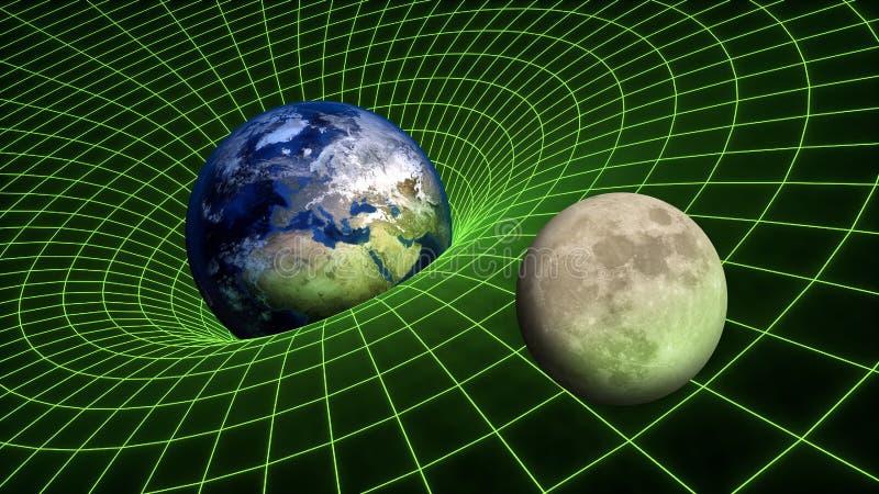Planetas da lua da terra da relatividade do spacetime da curvatura do campo de gravidade imagem de stock royalty free