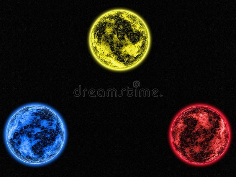 Planetas das objetivas triplas do fundo da galáxia do sumário da pintura de Digitas azuis, os amarelos e os vermelhos no espaço p ilustração royalty free