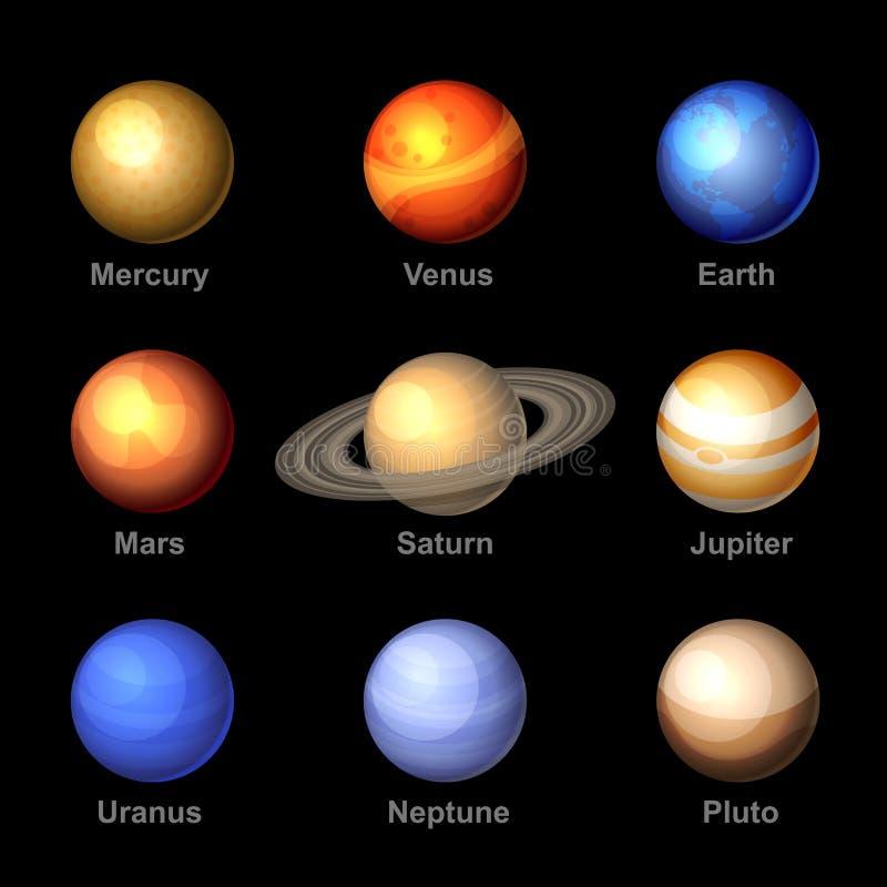 Planetas de ícones do sistema solar Vetor ilustração do vetor