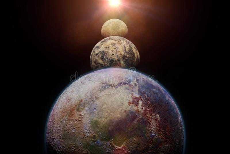 Planetas de Exo iluminados por um sol estrangeiro ilustração stock