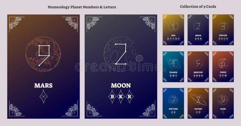 Planetas de la Sistema Solar y números astrológicos con la carta de las letras Ejemplo numérico del vector de la ciencia del univ ilustración del vector