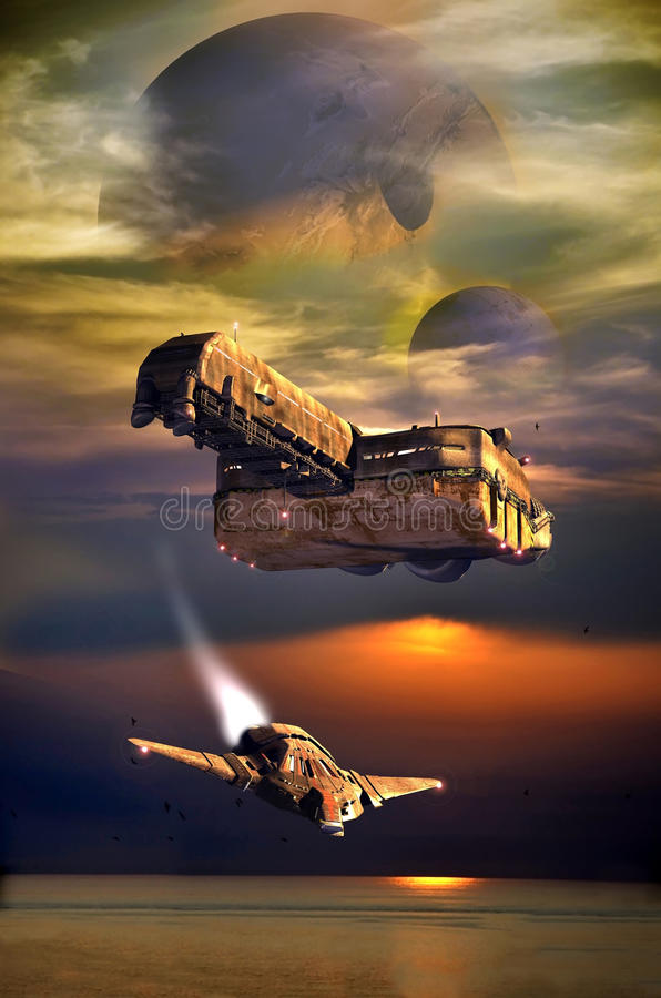 Planetas distantes de exploração ilustração royalty free