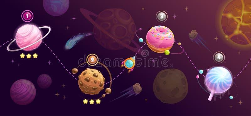 Planetas do alimento ajustados Conceito da viagem do espaço de Rocket Estrada do transporte, mapa do universo para o projeto do G ilustração royalty free