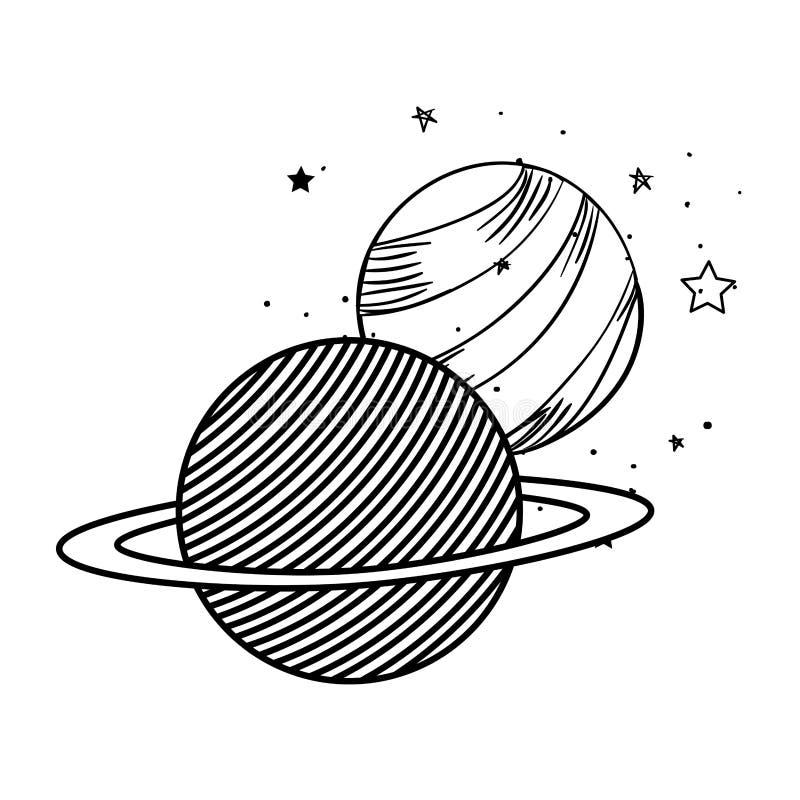Planetas do ?cone isolado do sistema solar ilustração royalty free